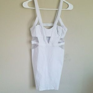 White partly mesh midi dress